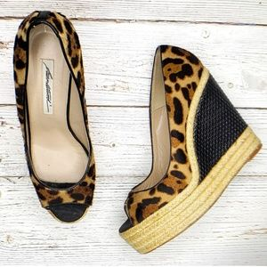 Leopard Print Jute Wedges by Brian Atwood